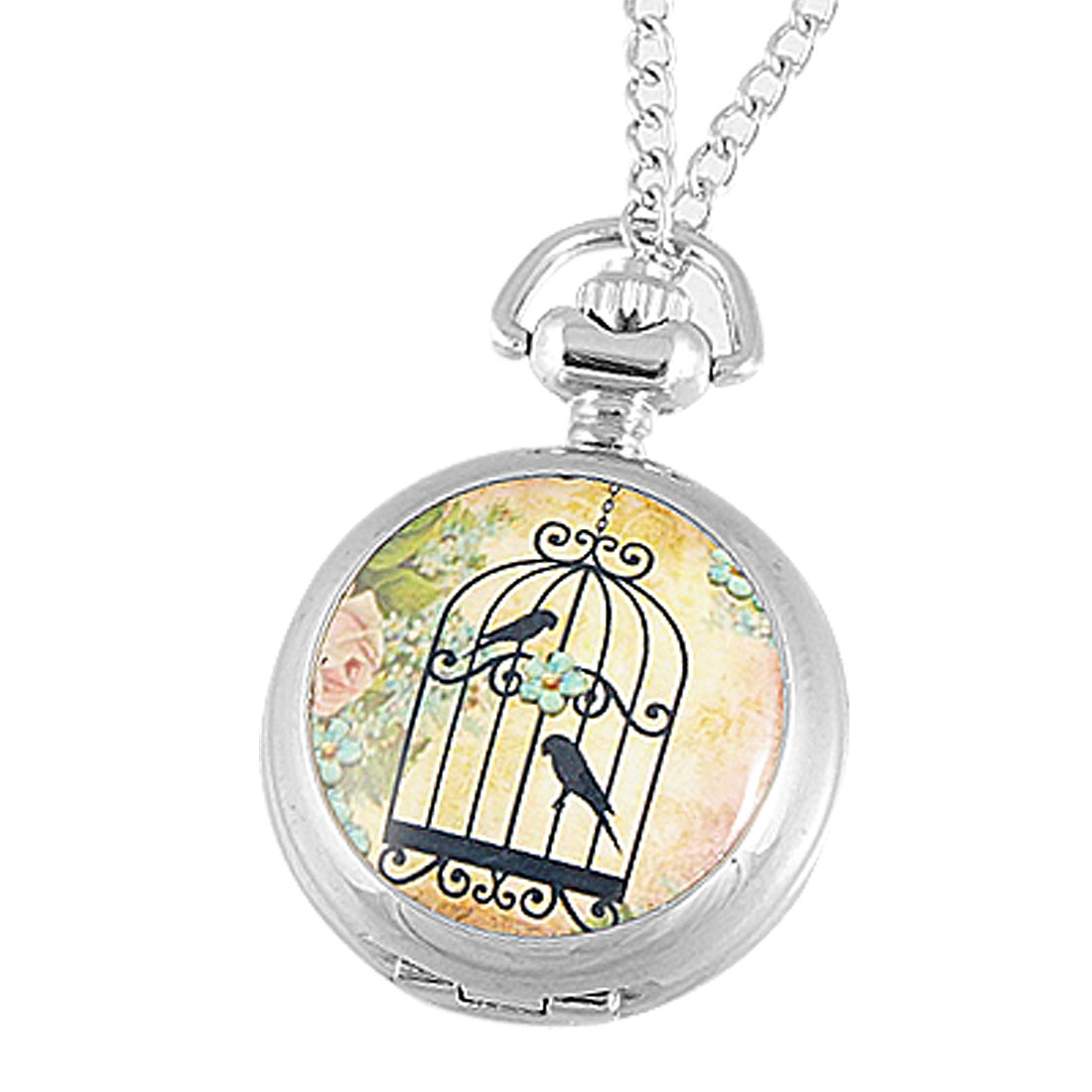 Flower Black Birdcage Bird Pattern Hunter Case Pocket Quartz Watch