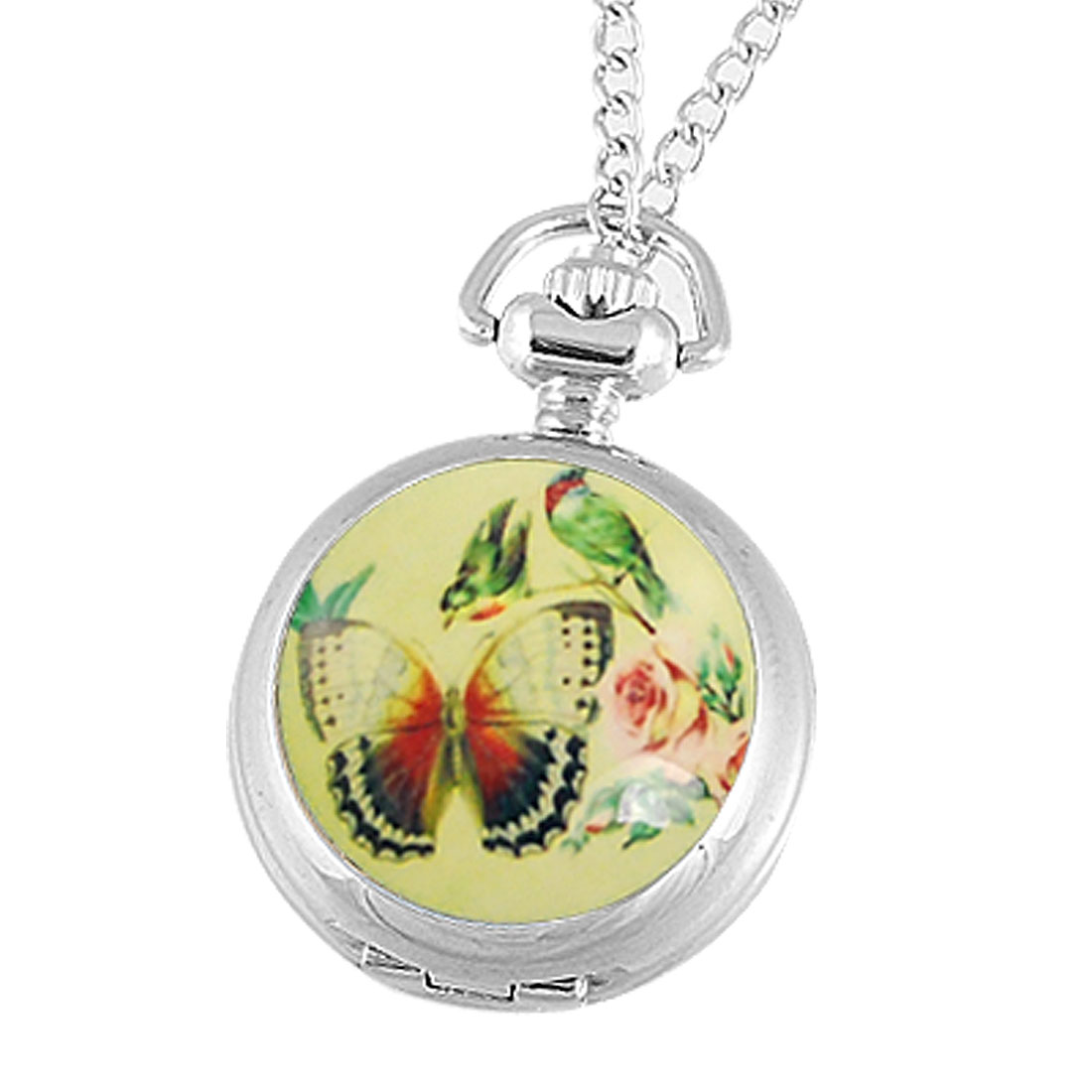 Lady Butterfly Birds Flower Detail Metal Silver Tone Necklace Pocket Watch