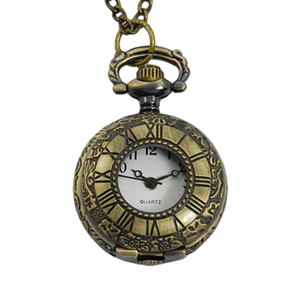 Ladies Brass Tone Floral Printed Quartz Pocket Watch Necklace