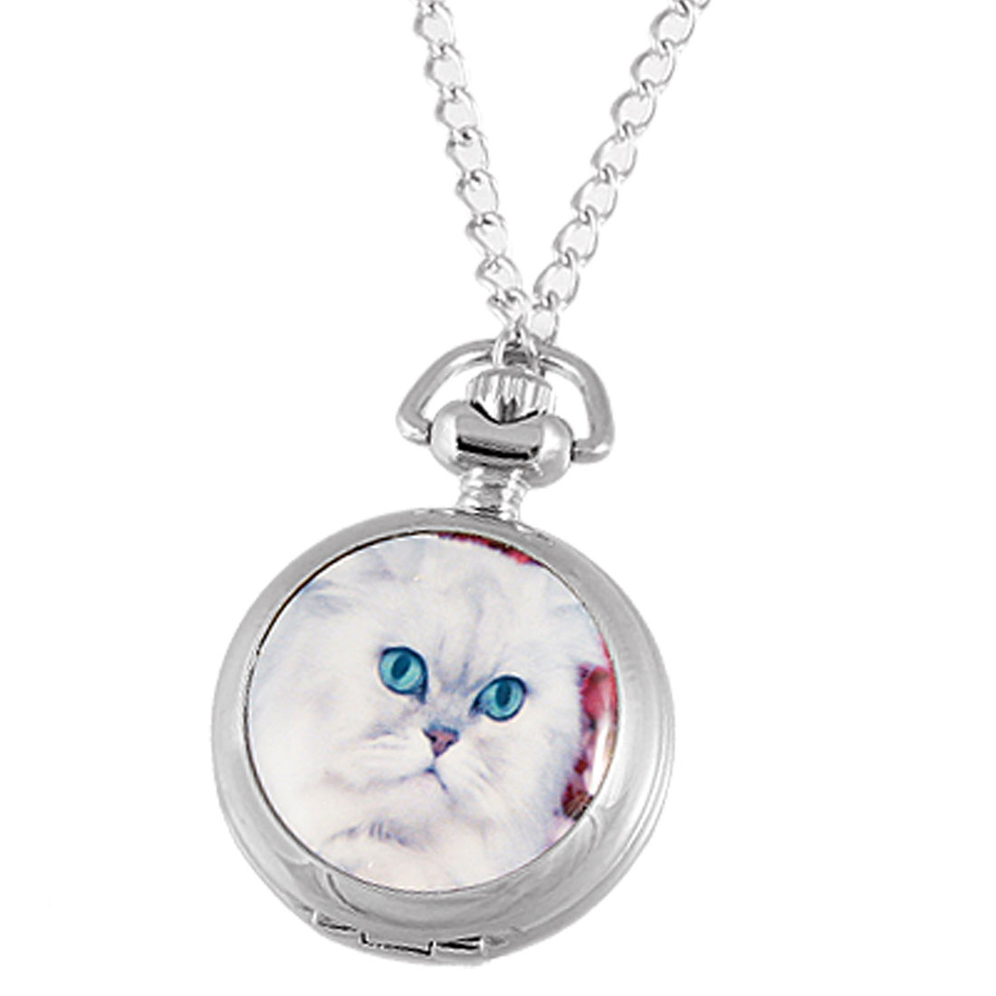 White Cat Print Cover Arabic Numbers Scale Pocket Quartz Watch