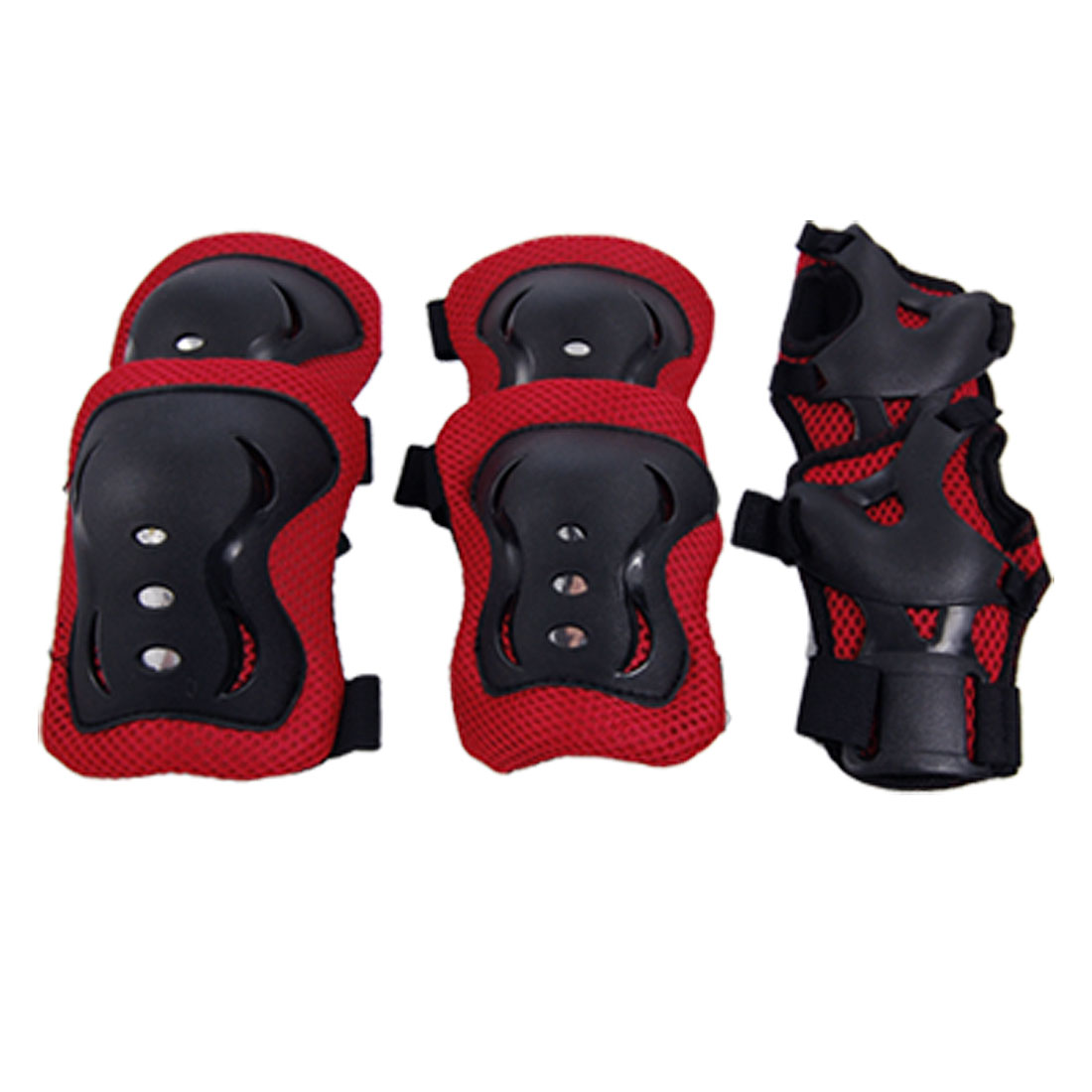 3 Pair Children Kids Red Black Elbow Knee Palm Protector Support