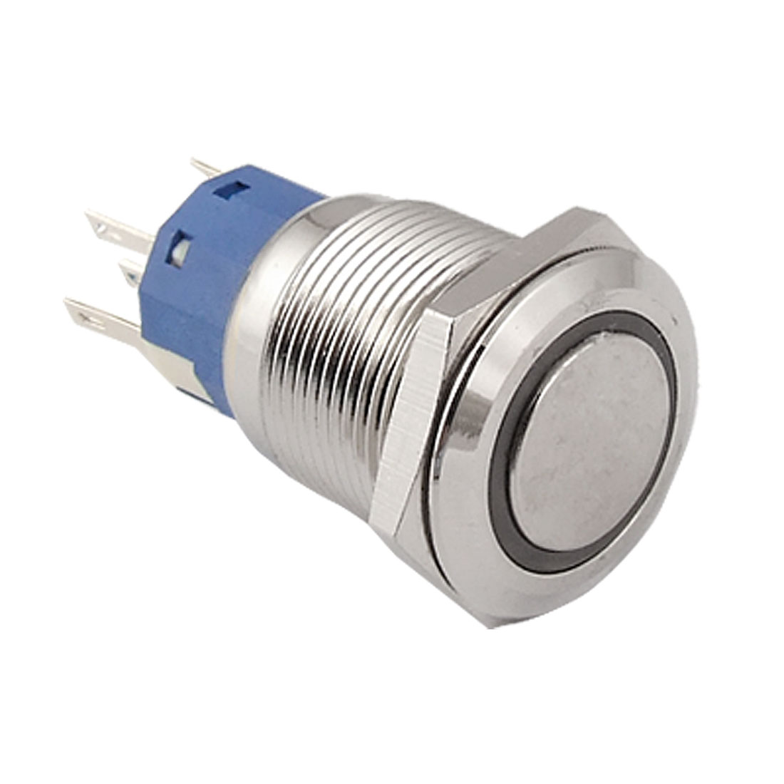 Blue Ring Illuminated Momentary 19mm Thread Stainless Push Button Switch