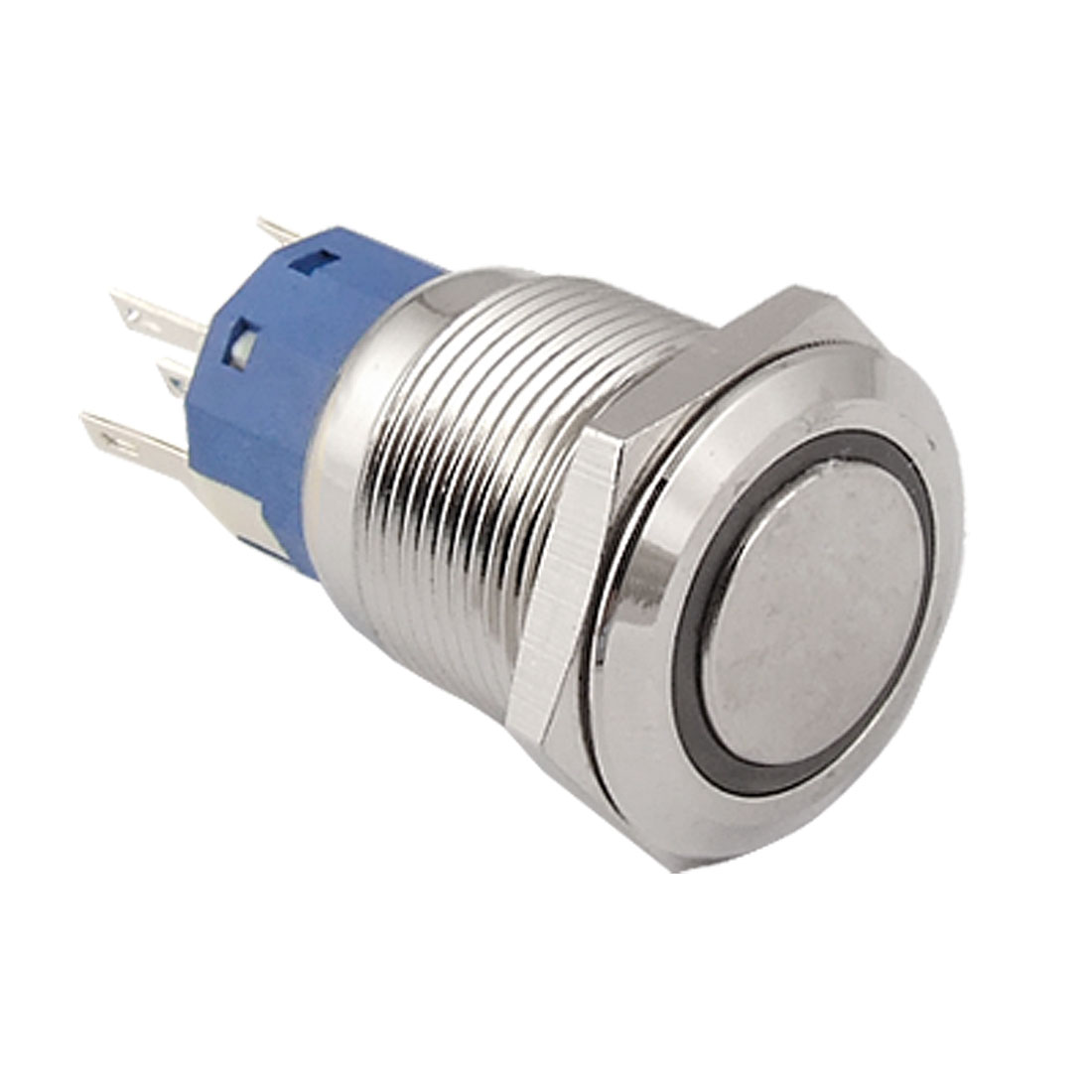 12V Blue Ring Light Lamp Self Locking 19mm Stainless Steel Push Button Switch