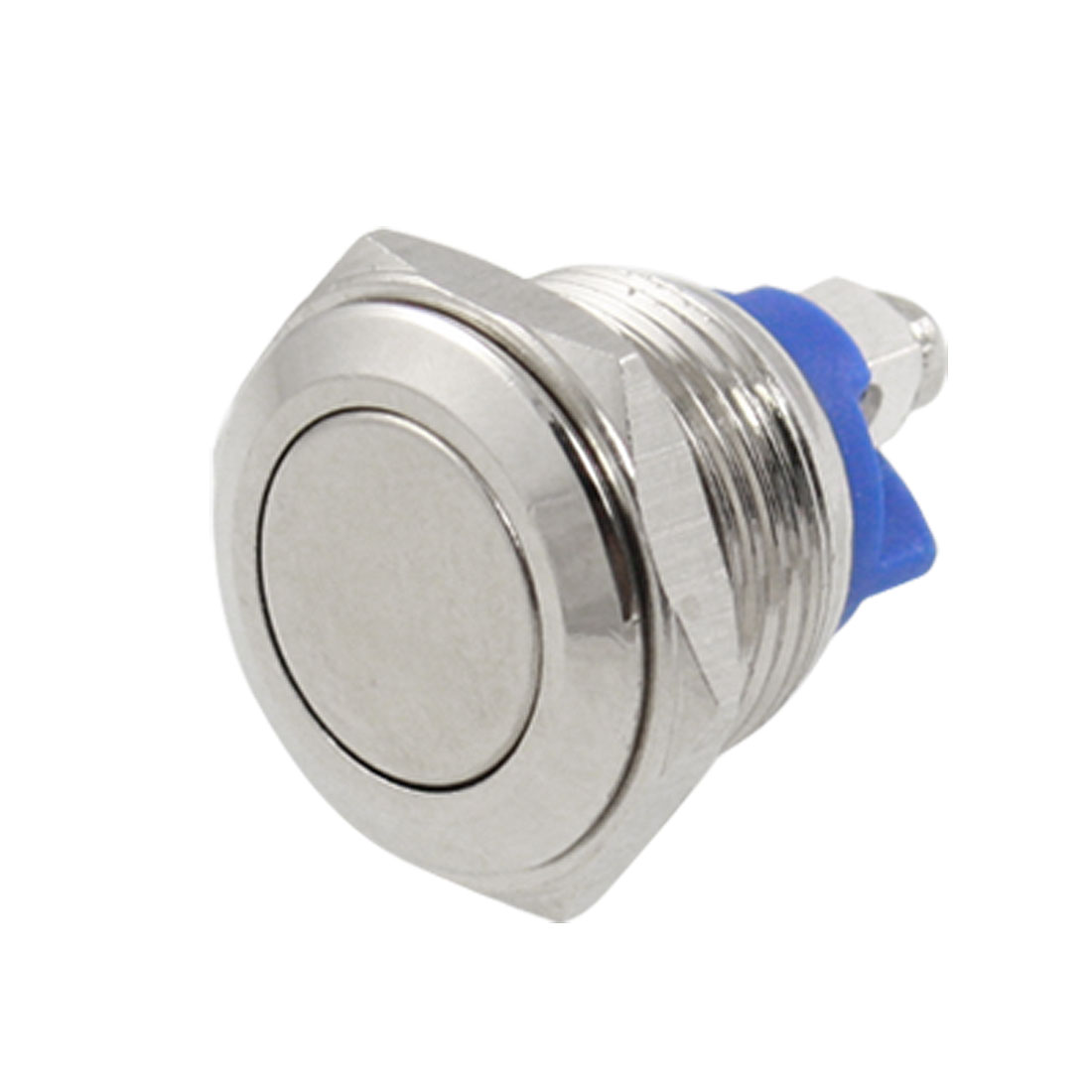 DC 36V 2A Off-(On) NO 16mm Screw Metal Flat Momentary Push Button Switch