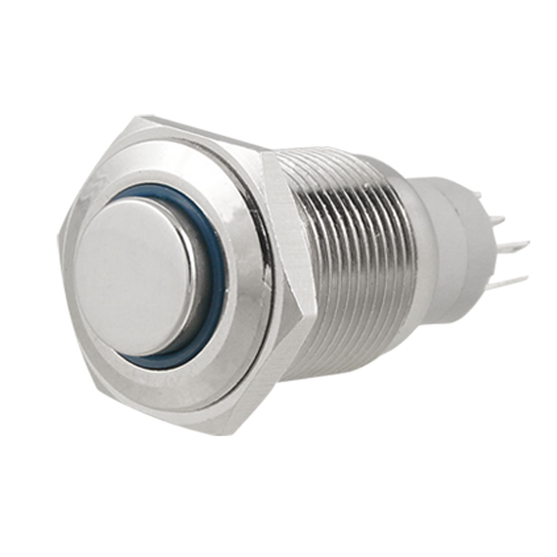 Blue LED Ring Light Lamp 12V 16mm Stainless Steel Momentary Push Button Switch 5 Pin SPDT