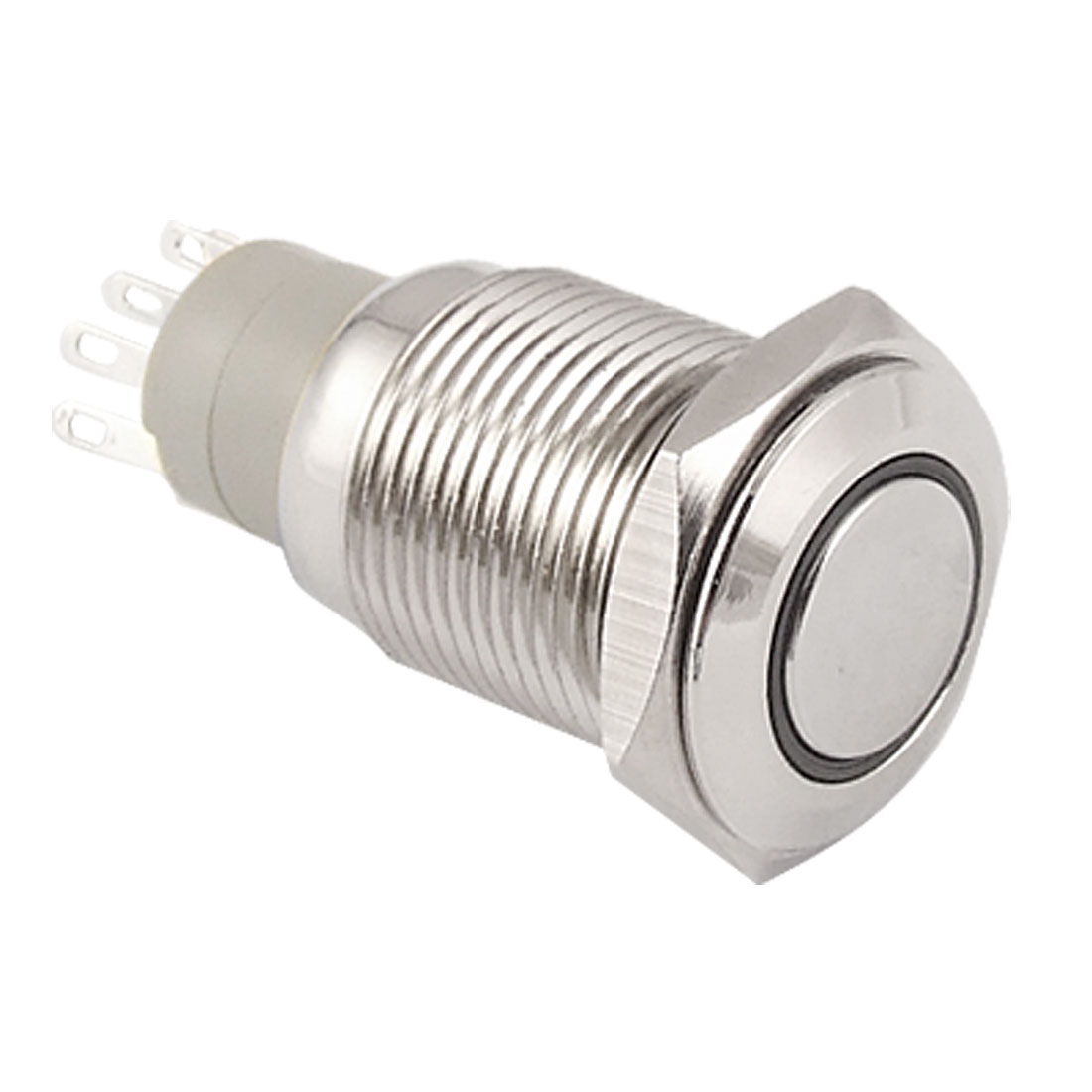Angel Eye WHITE Led 16mm 12V stainless Steel Switch Latching Push Button 5 Pin