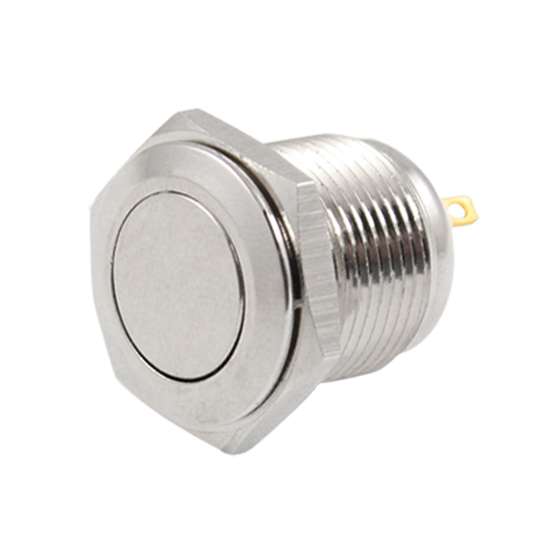 DC 36V 2A OFF-(ON) NO 16mm Metal Round Momentary Push Button Switch Flat Head