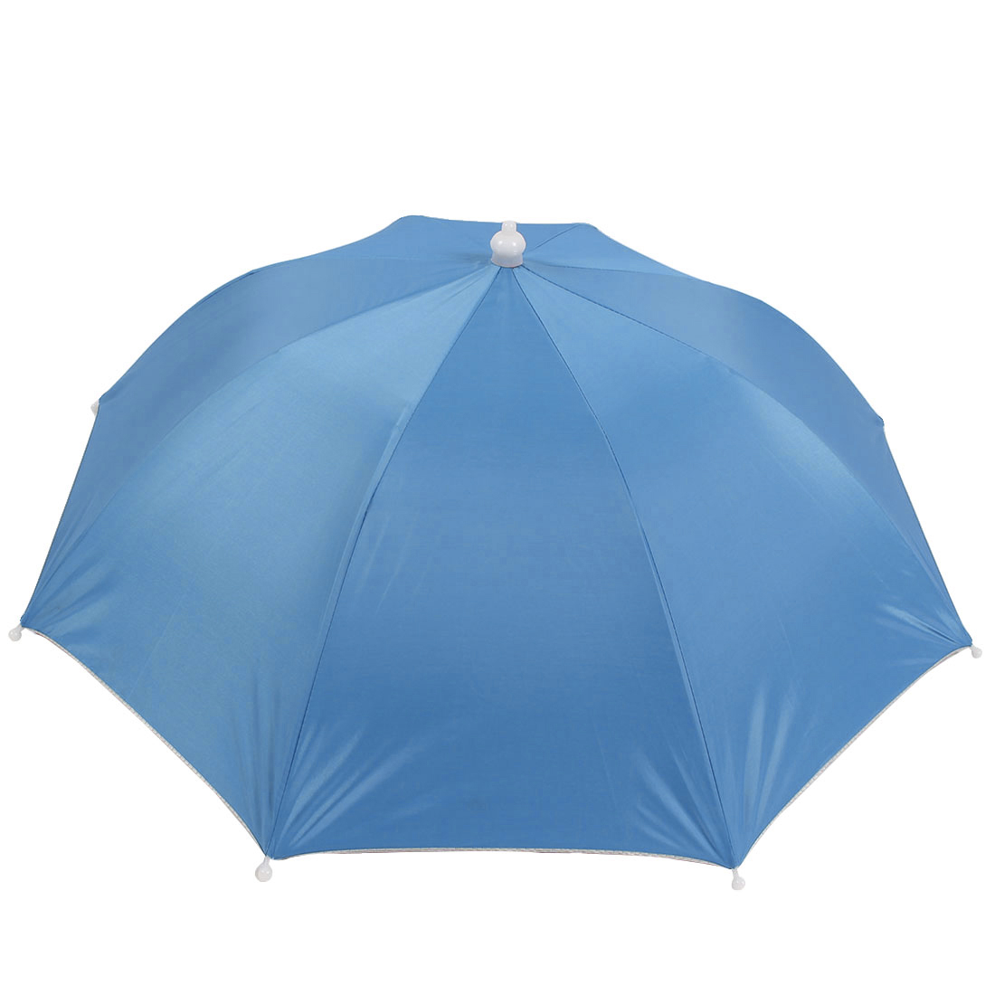 "Fishing Elastic Head Band 17"" Long Handfree Baby Blue Umbrella Hat"
