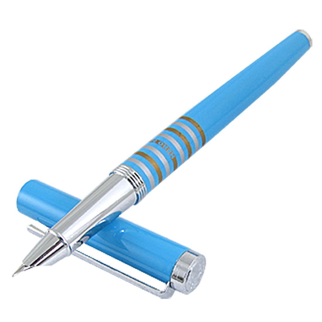 0.4mm Iridium Tipped Nib Metal Fountain Pen Blue w Clip