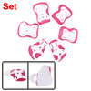 Children Cycling Inline Skating Wrist Elbow Knee Pad Support Protector Fuchsia White 6pcs Sets