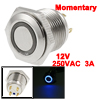 Blue LED Light Lamp OFF-(ON) NO 12V 16mm Momentary Push Button Switch 4 Pin SPST