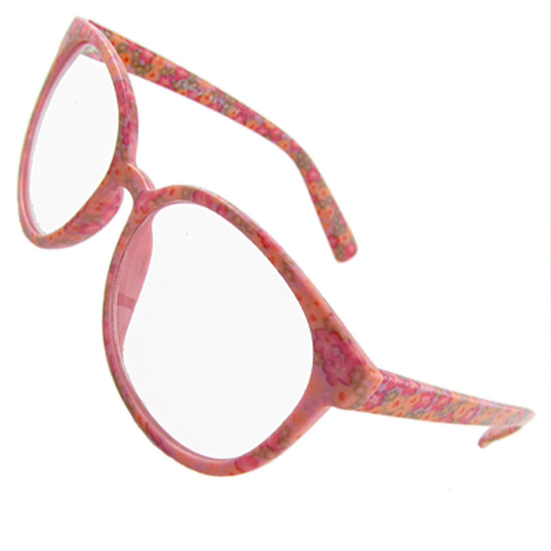Lady Colorful Flower Pattern Full Frame Clear Lens Plain Glasses