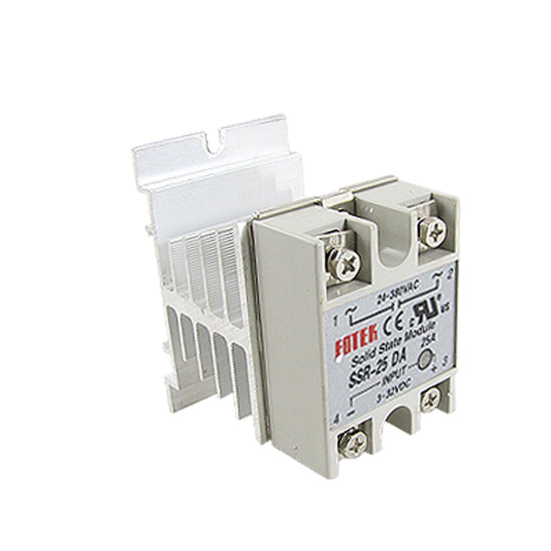 SSR 25A Solid State Relay 3-32V DC 24-380V AC Control w Heat Sink