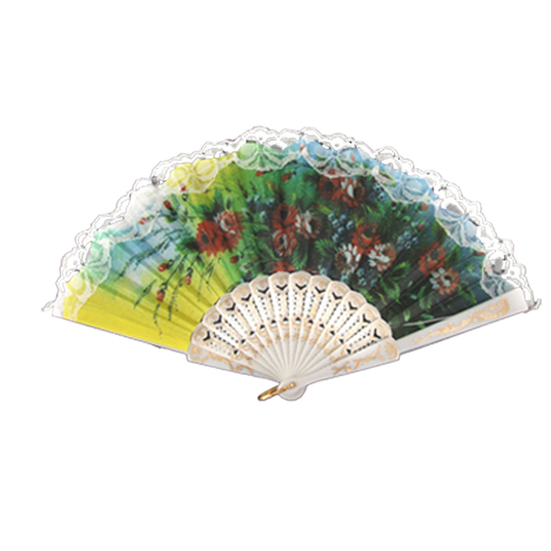 Peony Print Lace Hem Decor Colorful Folding Hand Fan