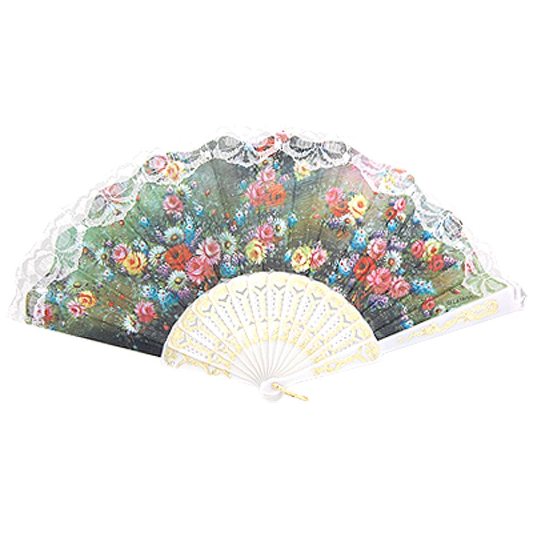 Wht Lace Decor Colorful Flower Print Folding Hand Fan