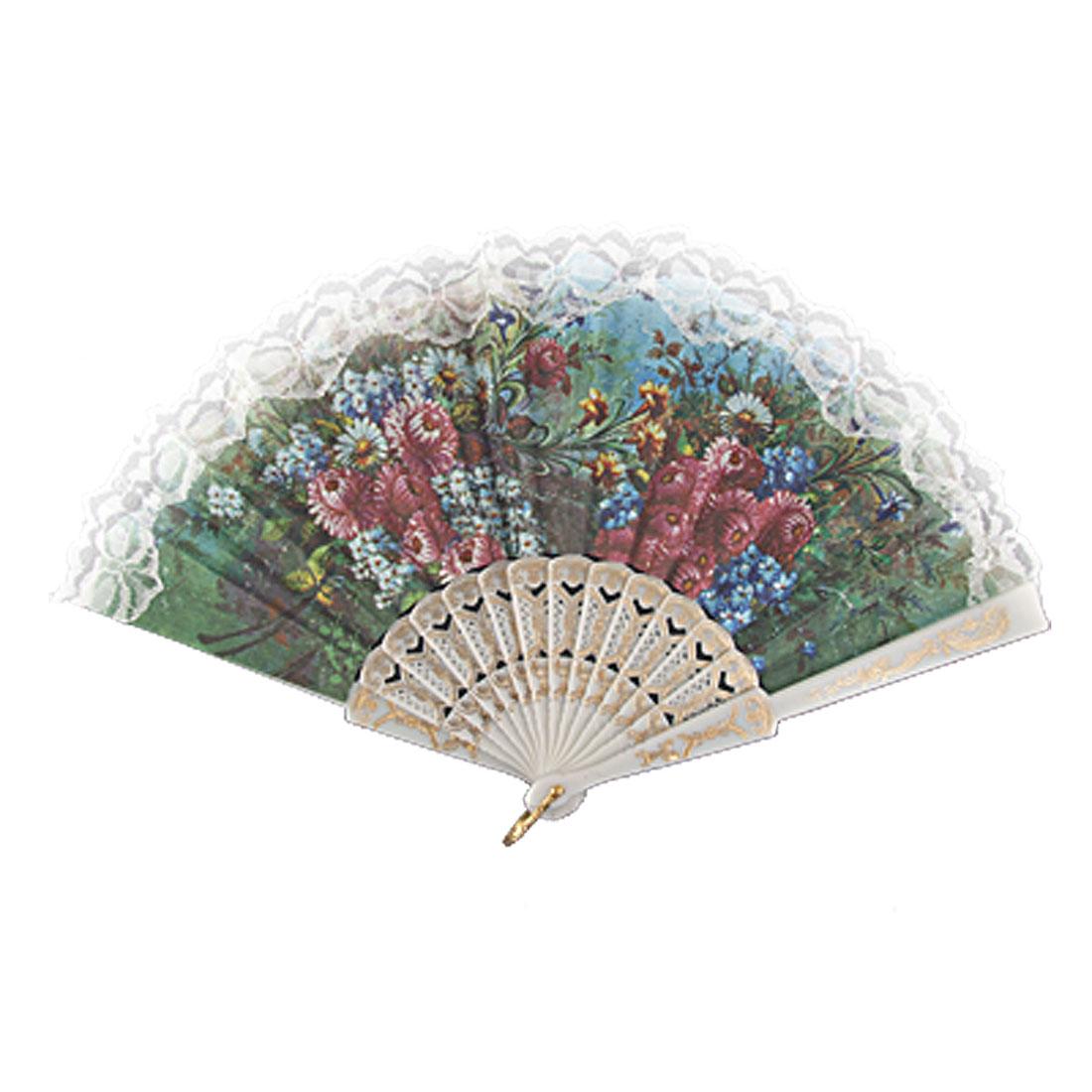 Embossed Frame Lace Applique Floral Handheld Dance Fan