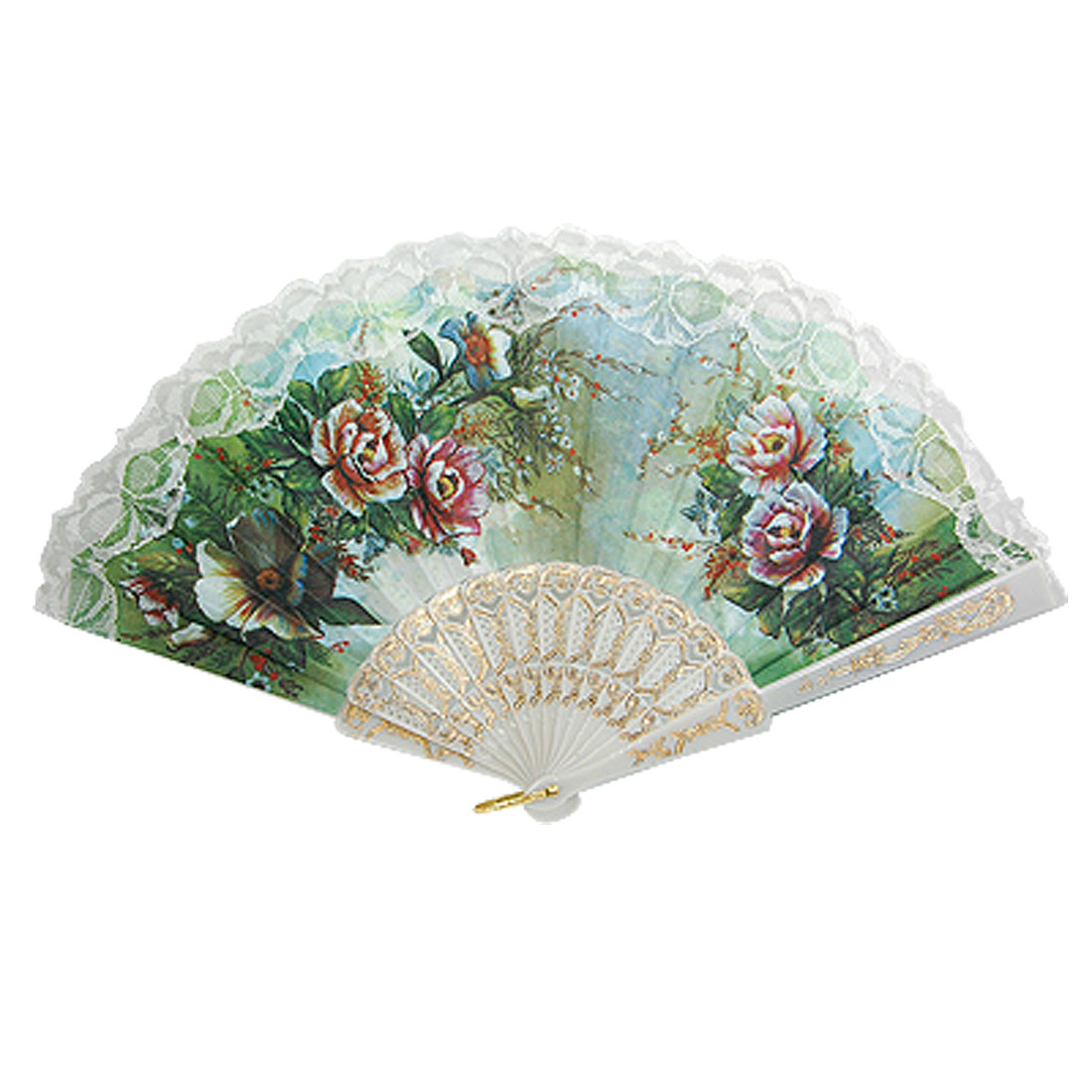 White Frame Colored Flower Print Foldable Hand Fan for Dancing