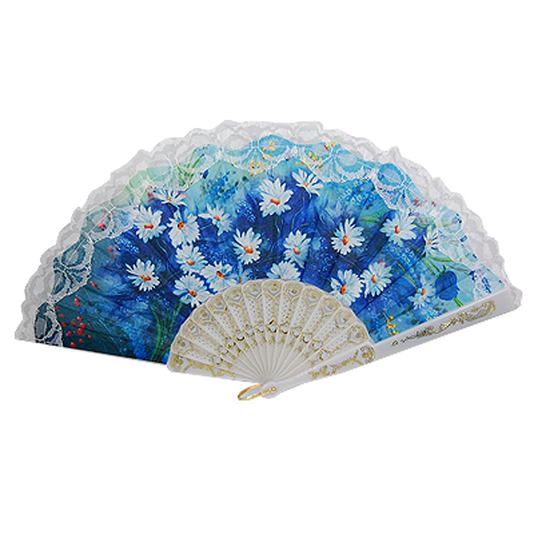Hollow Plastic Ribs White Flower Print Blue Hand Fan