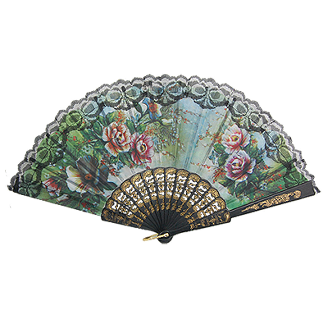 Nylon Fabric Black Plastic Frame Floral Pattern Chinese Hand Fan for Women