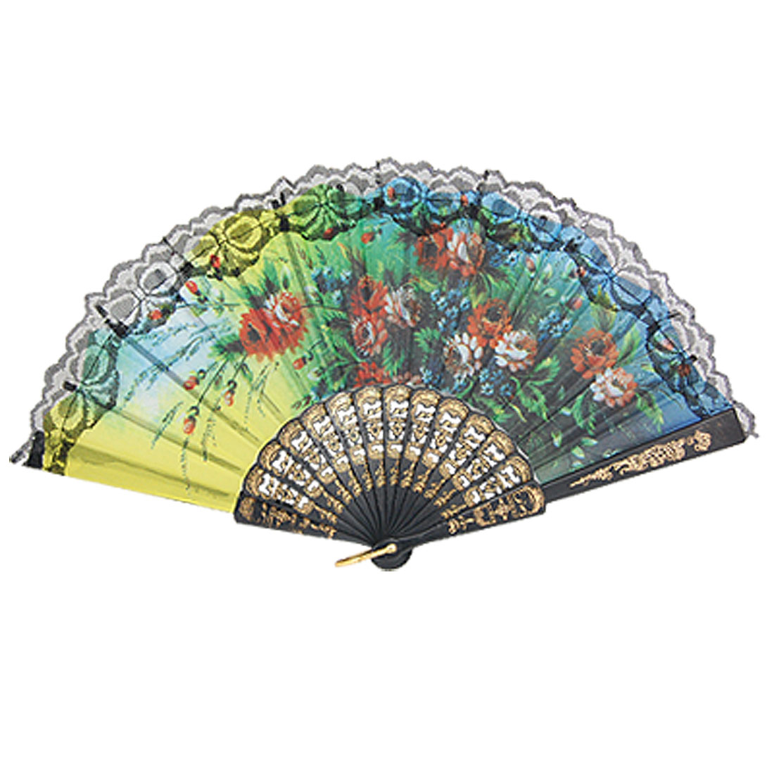 Colorful Wedding Accent Floral Printed Lace Trim Foldable Hand Fan