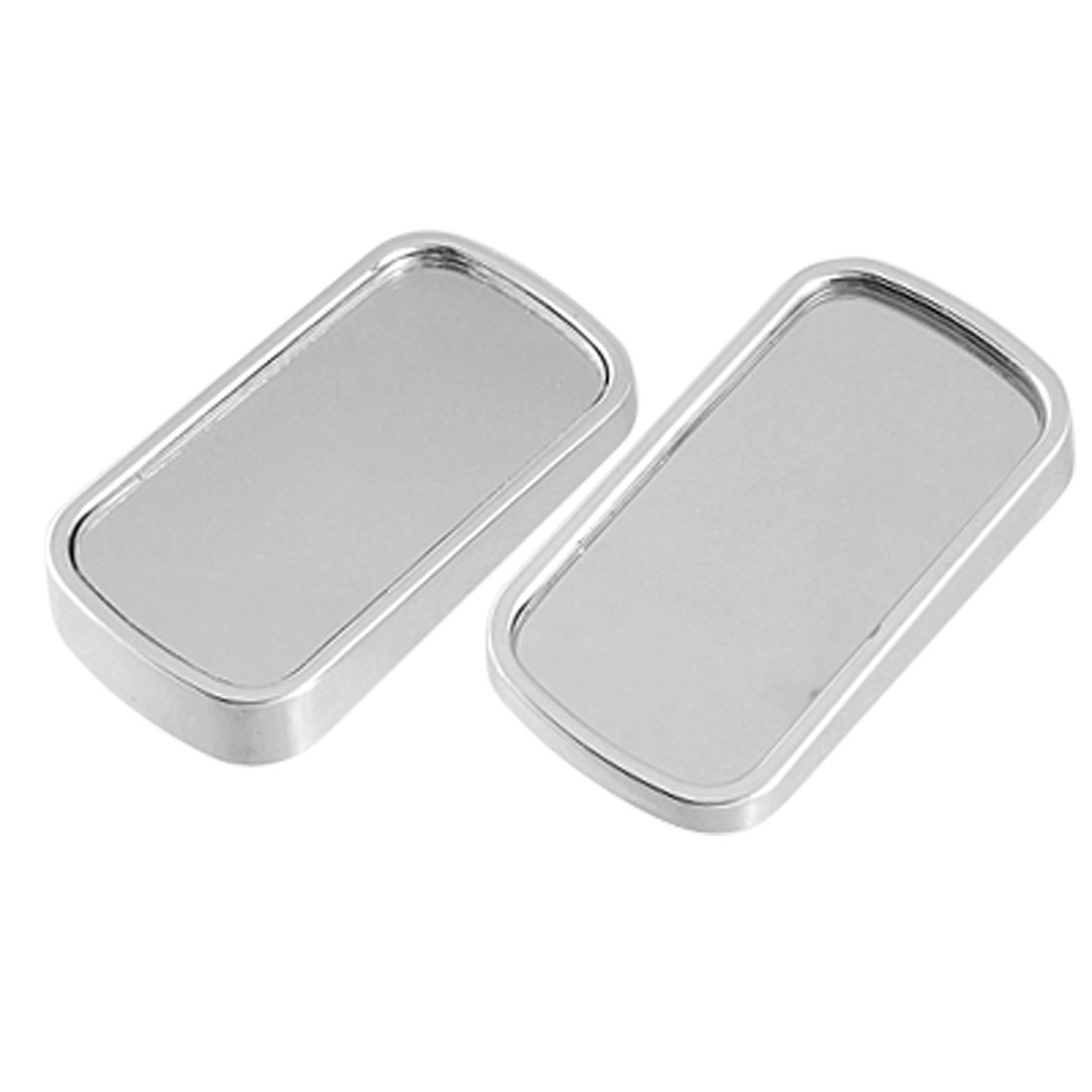 2pcs Silver Tone Car Rectangle Aluminum Alloy Rearview Blind Spot Convex Mirror