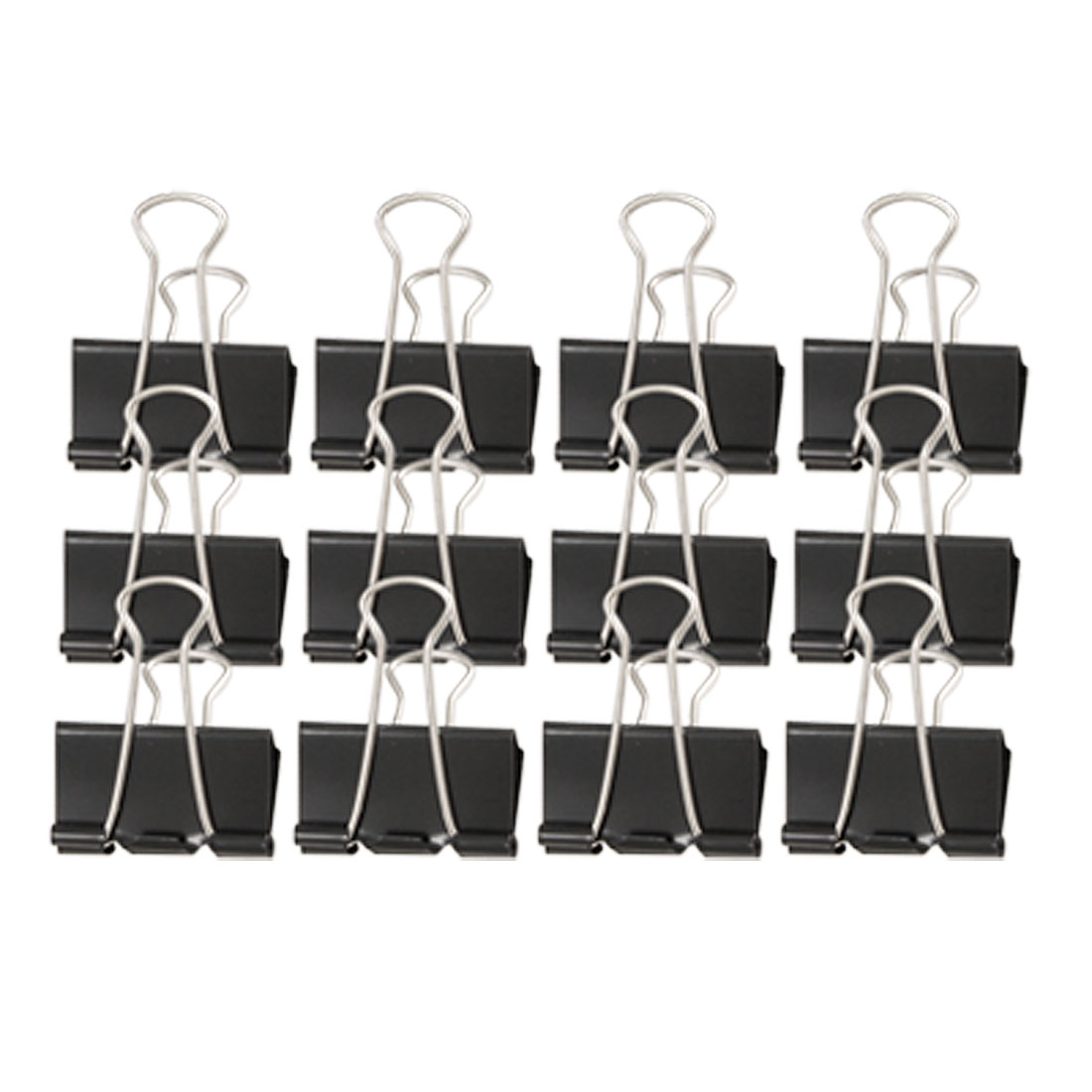 "12 Pcs 1 5/8"" Width Black Silver Tone Metal Binder Clip for Office School"