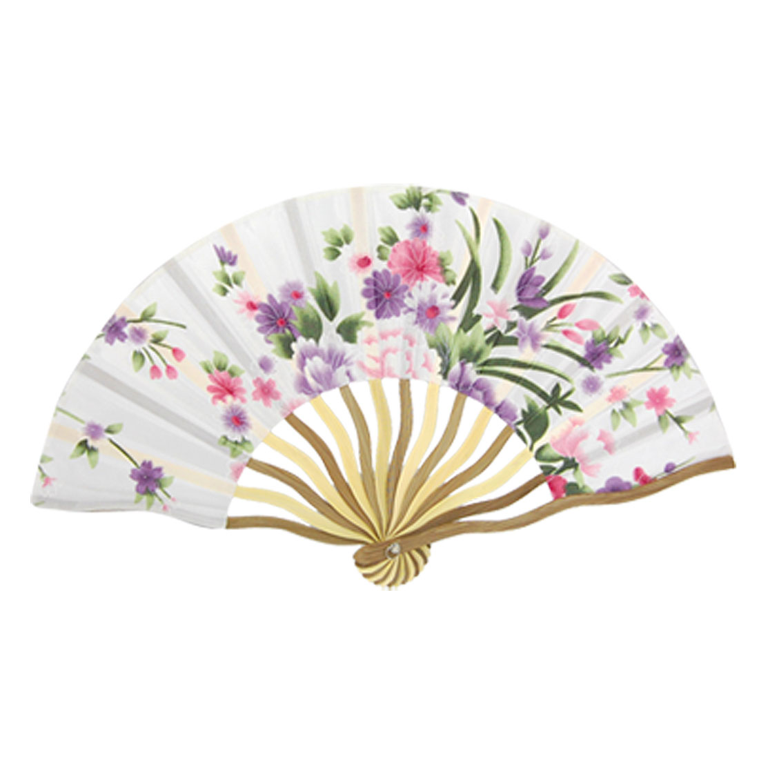 Summer Bent Bamboo Frame Multi Color Nylon Fabric Folding Hand Fan