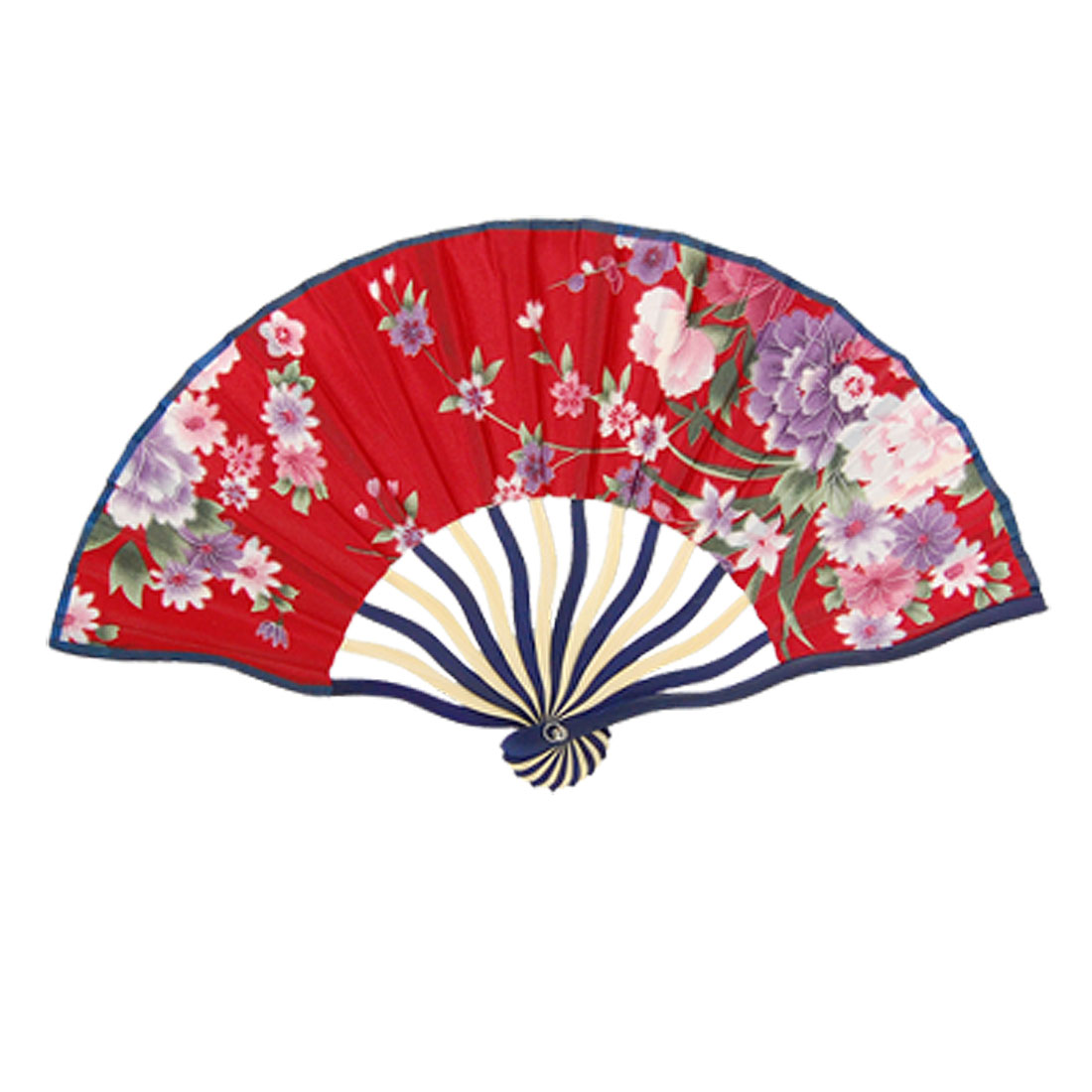 Bent Frame Multicolor Peony Pattern Foldable Nylon Hand Fan Red