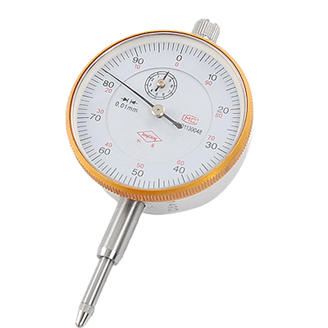 Vertical Contact Round Dial Indicator Silver Tone Orange 0.01mm