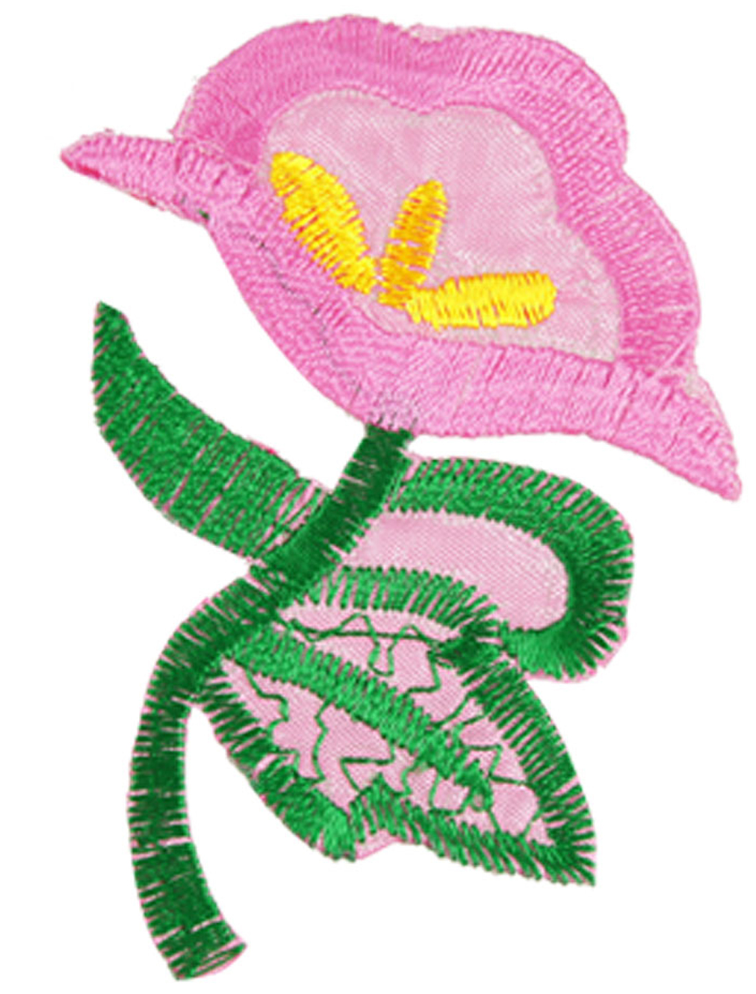 Embroidered Pink Green Flower Applique Iron On Patch