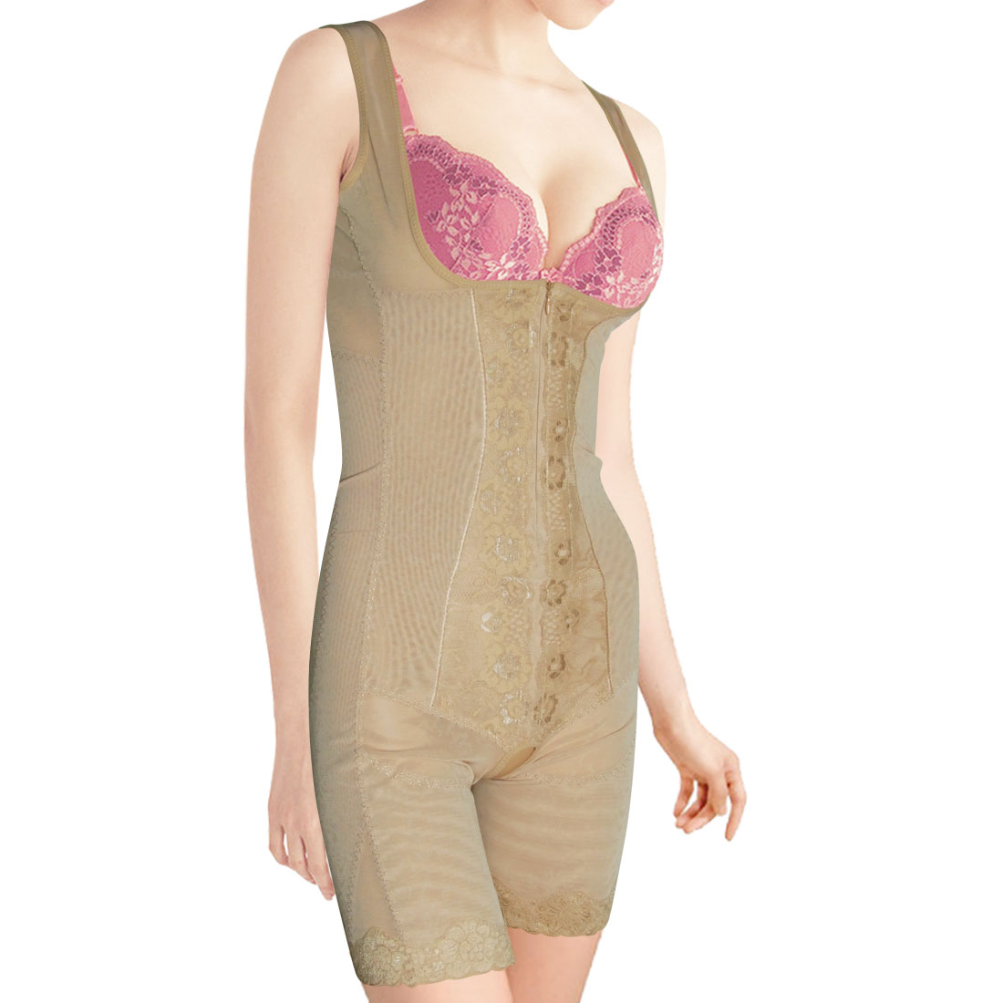 Ladies Tummy Waist Control Braless Shapewear Body Shaper Beige S