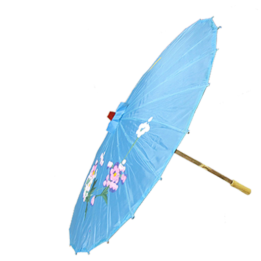 Wooden Grip Skyblue Nylon Fabric Floral Dancing Parasol Umbrella