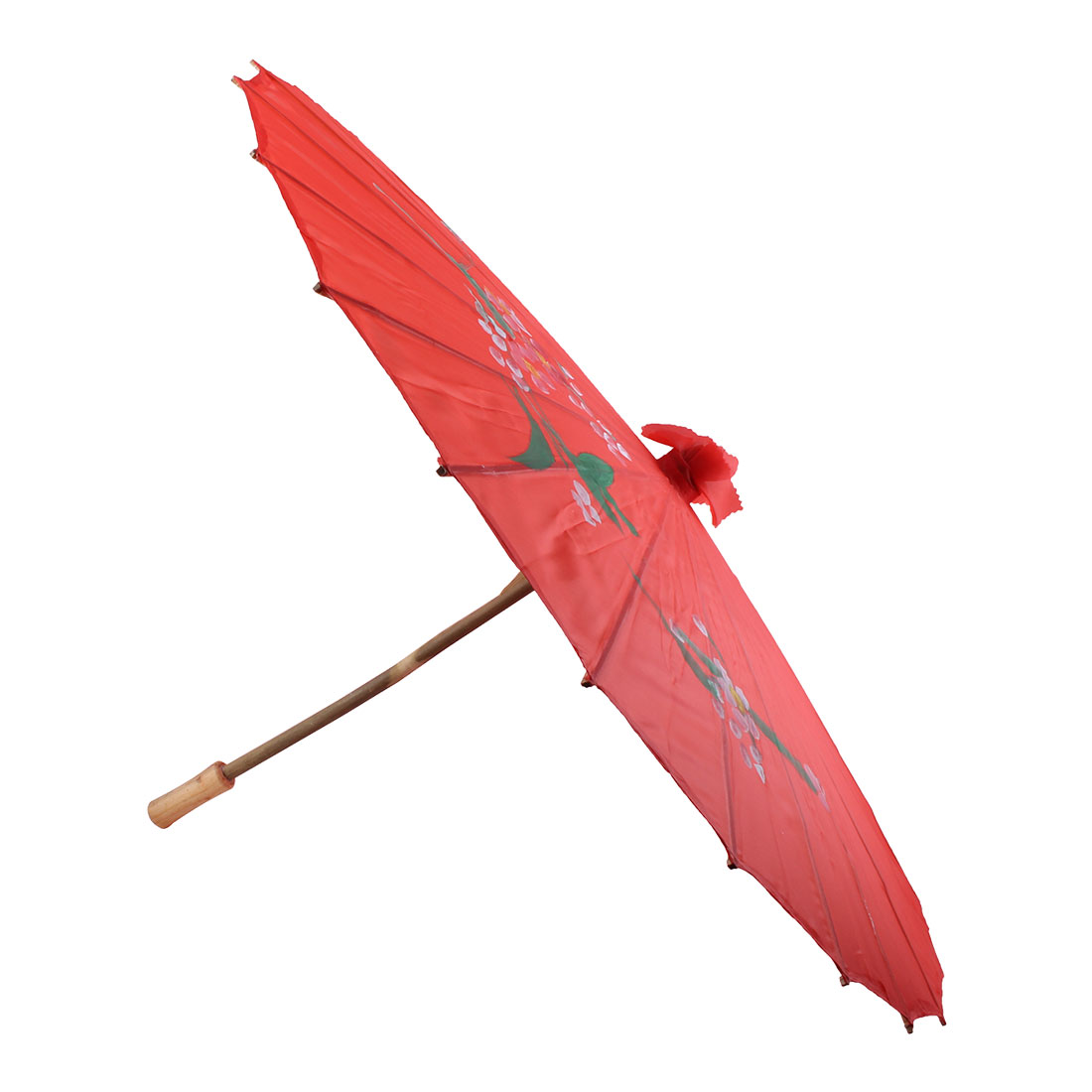 Bamboo Frame Floral Red Nylon Foldable Japanese Parasol Umbrella