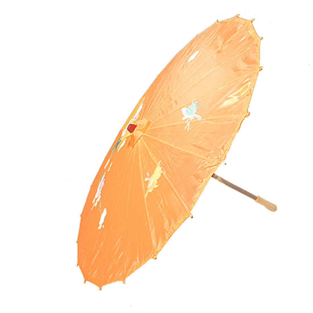 Dance Wedding Bamboo Rib Orange Nylon Foldable Umbrella Parasol