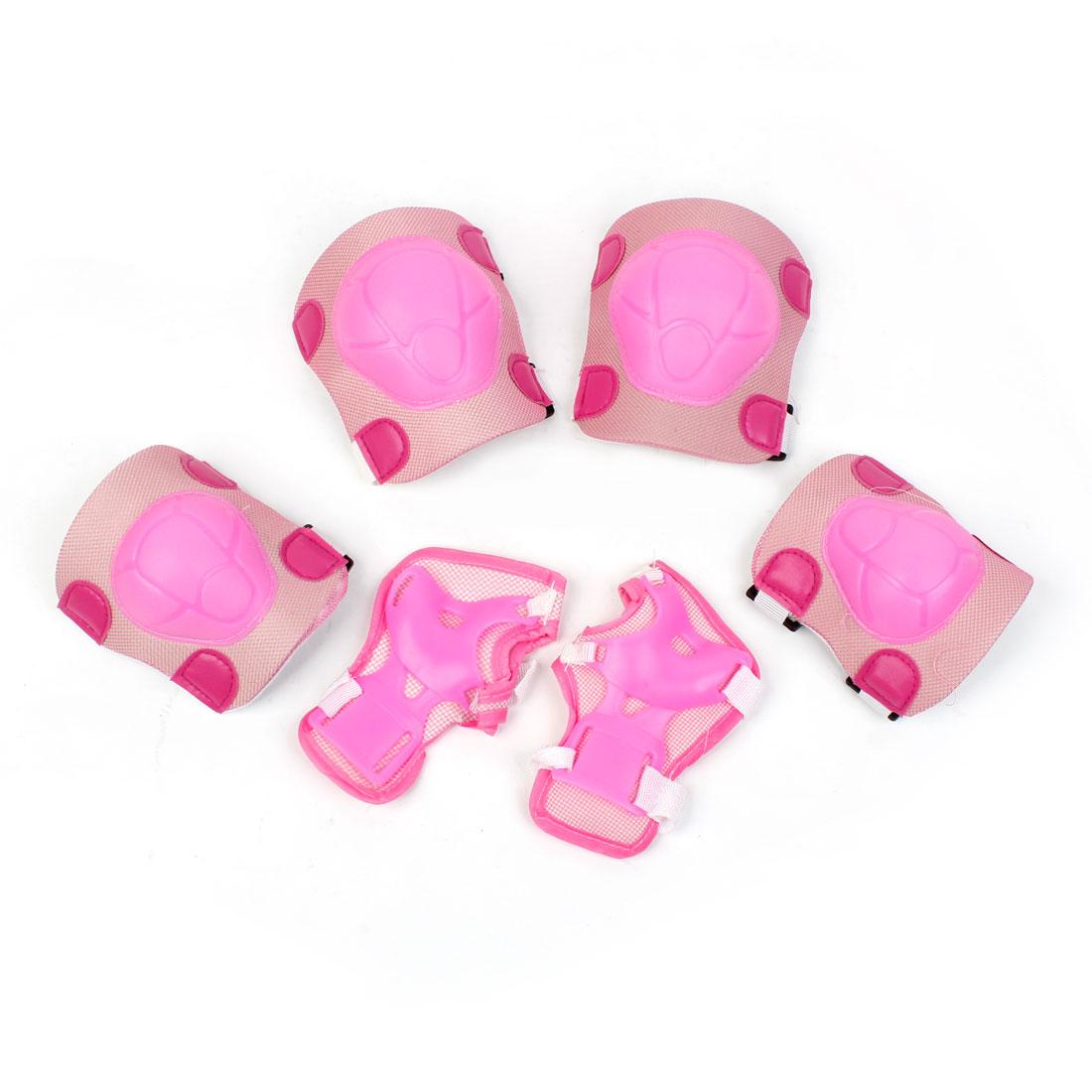 Children Pink Wrist Knee Elbow Support Protector Set