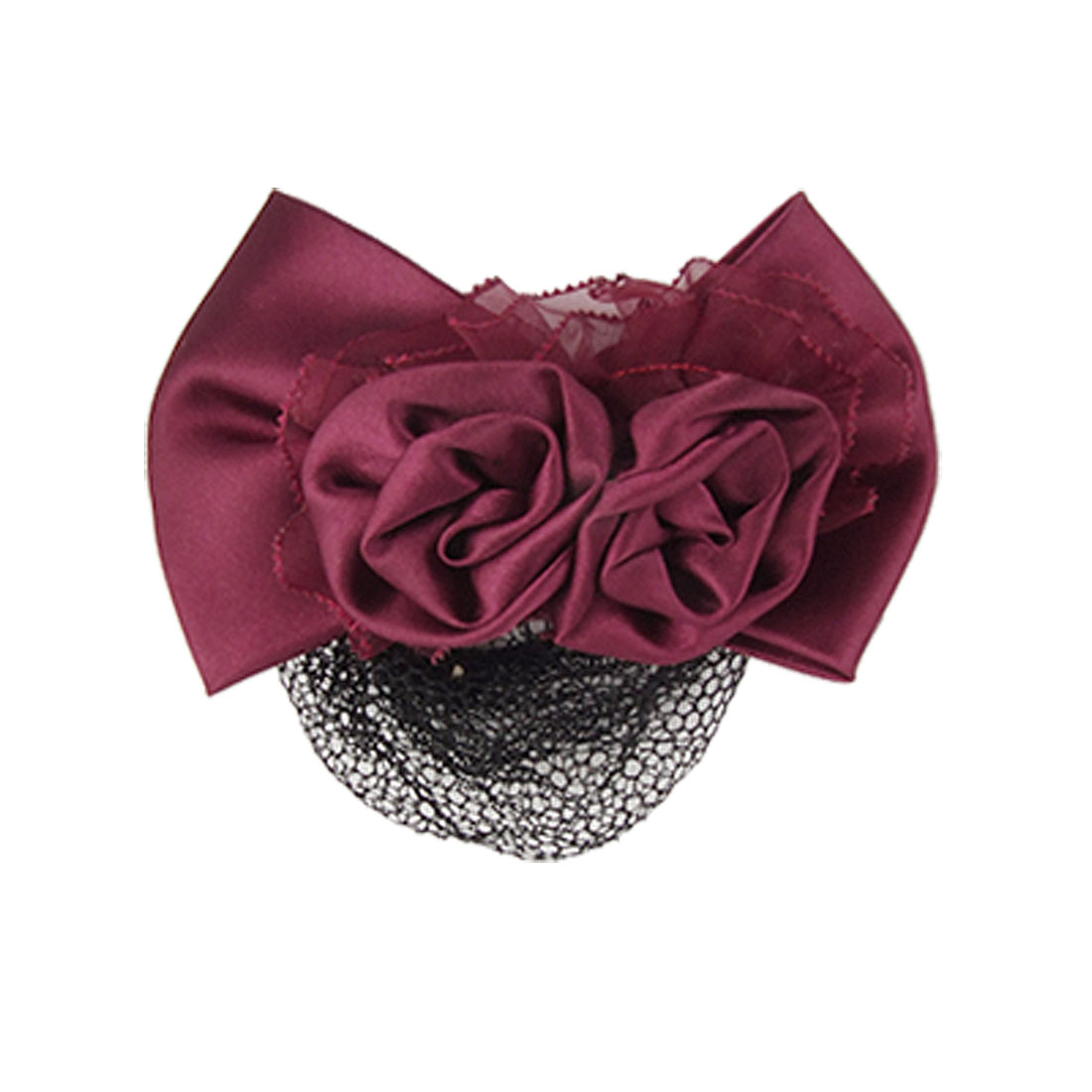Burgundy Bowknot Black Hairnet Design Metal Hair Clip for Ladies