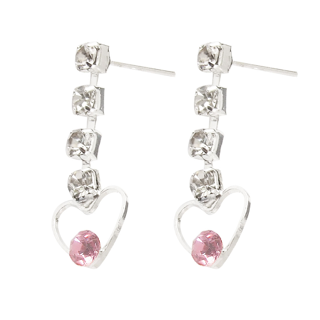 Lady Silver Tone pink Rhinestone Inlaid Heart Drop Stud Earrings