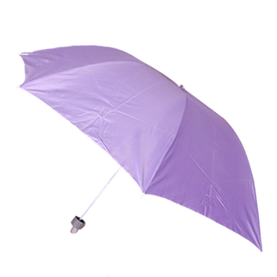 Plastic Handle 3 Sections Telescopic Tube Folding Purple Umbrella