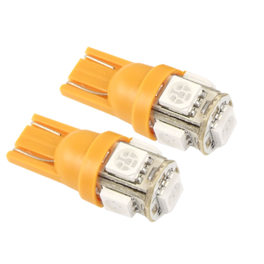2 Pcs T10 W5W Orange 5 SMD LED Side Light Bulbs Replacement for Car