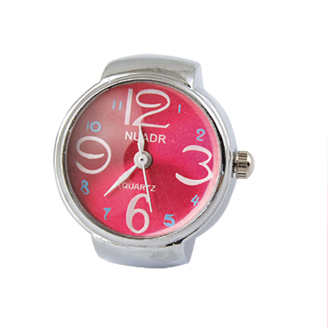 Lady Three Hands Red Dial Silver Tone Finger Ring Quartz Watch UK J 1/2