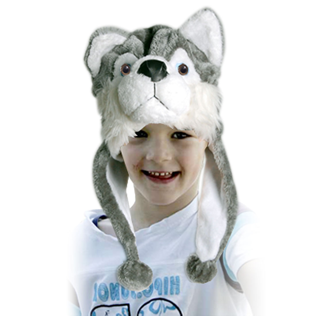 Child Kids Green White Animal Wolf Fluffy Earflap Hat