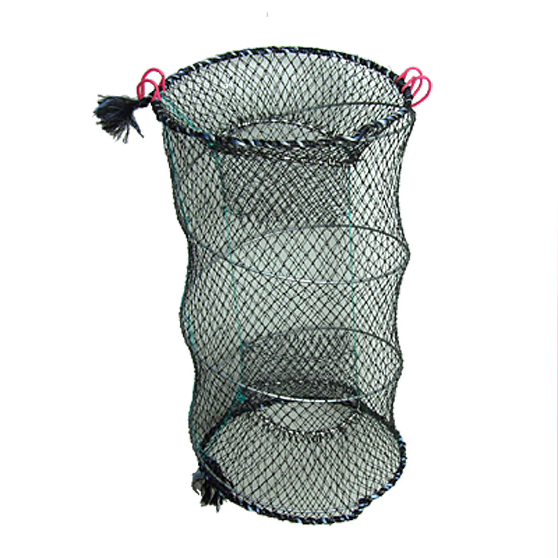 Double Entrance Foldable Mesh Spring Crab Fish Cage Black