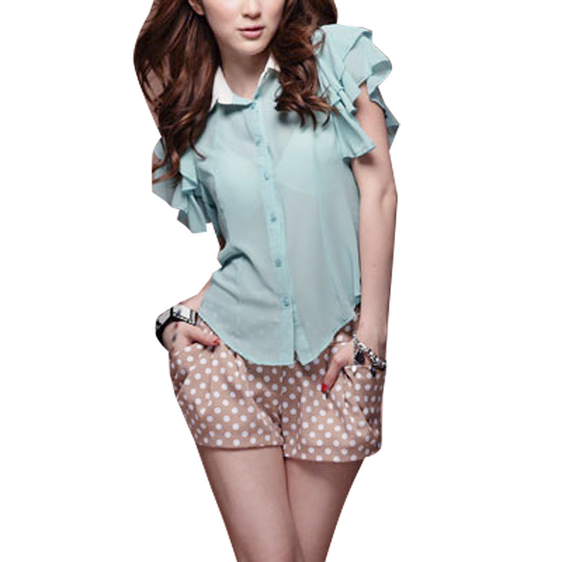 Ladies Point Collar Round Hem Ruffle Sleeve Button Up Blouse