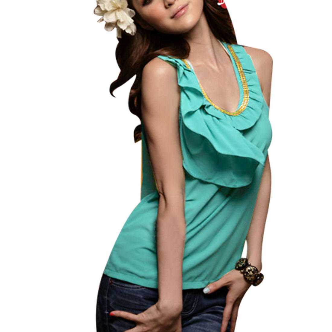 Ladies Gold Tone Chain Decor Sccop Neck Sleeveless Chiffon Shirt Green XS