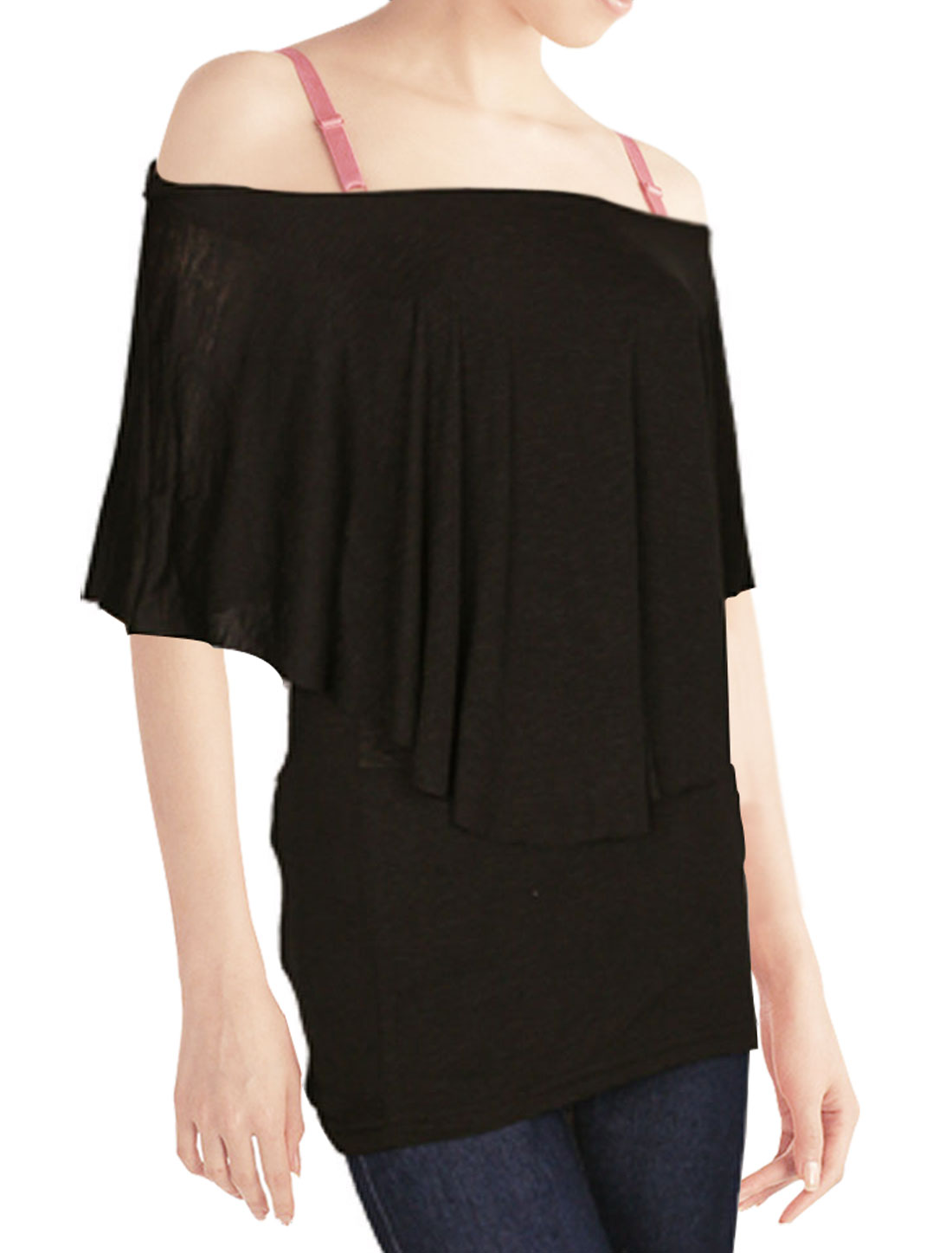 Ladies Elastic Sleeveless Ruffle Off Shoulder Shirt Black S