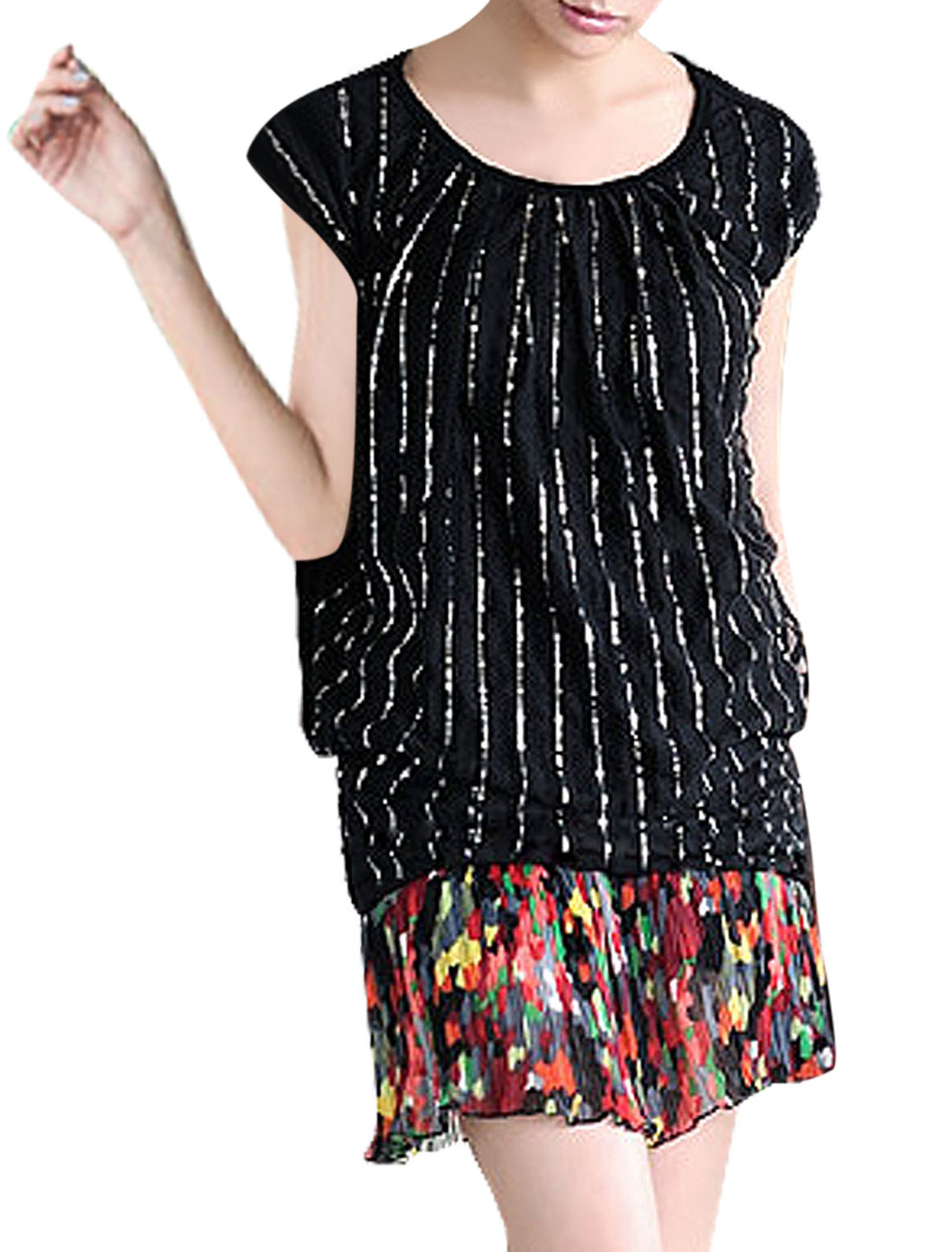 Scoop Neck Silver Tone Decor Black Shirt XS for Ladies