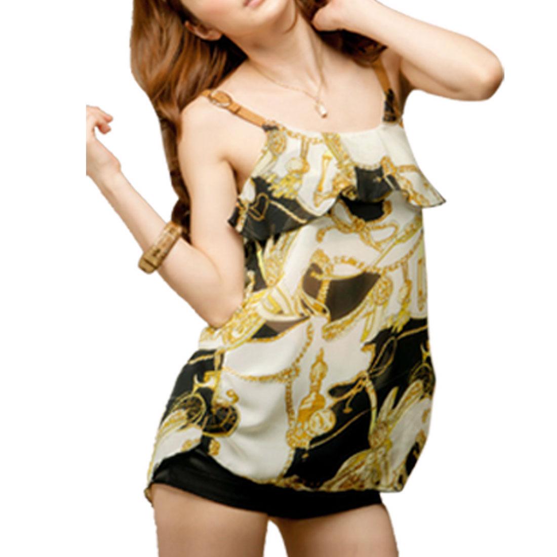 Brown Strap Ruffled Hem Chiffon Tank Top XS for Lady