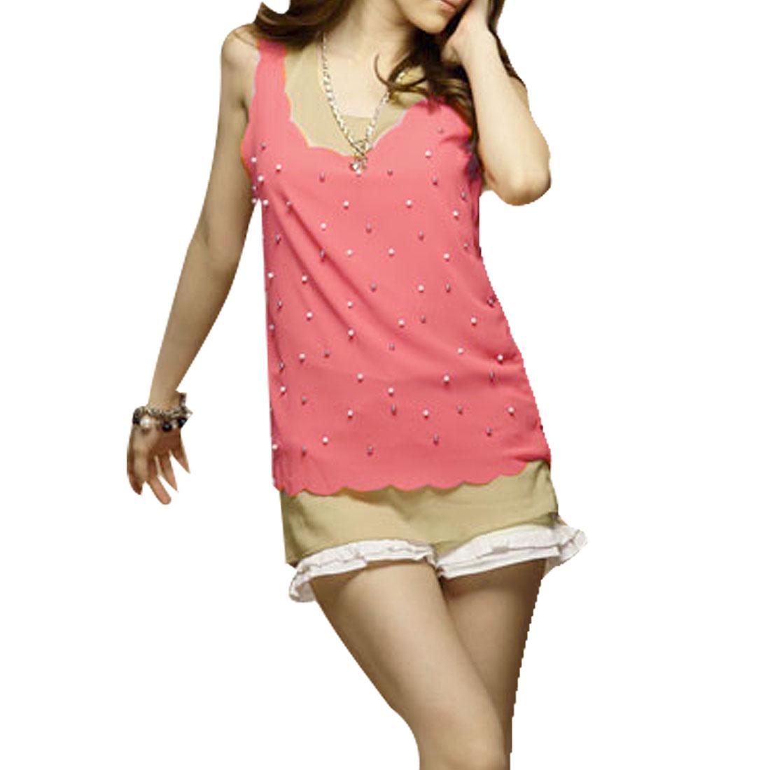 Lady Two Piece Tank Top Watermelon Red Khaki Tank Shirt XS