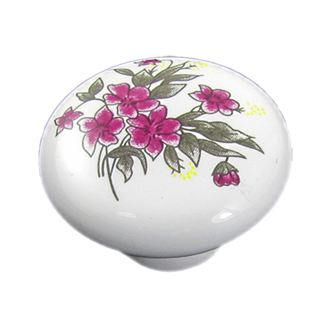 Cabinet Furniture Door Pink Flower Print Ceramic Knob w Screw