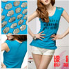 Lady Scoop Neck Skull Stud Decor Shoulder Blue Cap Sleeves Shirt XS